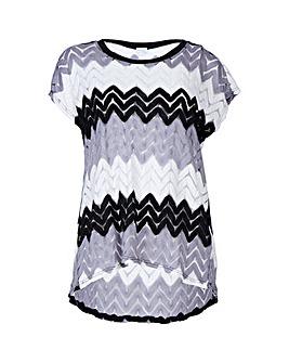 Blue Vanilla Curve Zig Zag T-Shirt