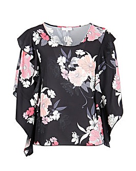 Lovedrobe GB Black Floral Batwing Top