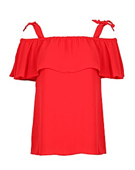 Lovedrobe GB Red Tie Shouler Bardot Top