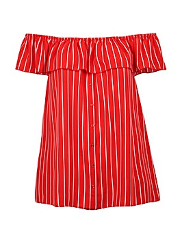Lovedrobe GB Red Stripe Bardot Top