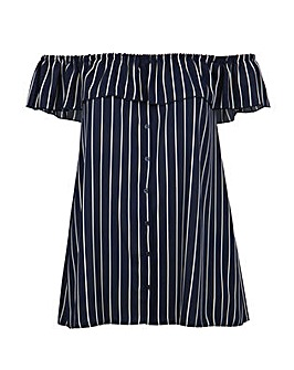 Lovedrobe GB Navy Stripe Bardot Top