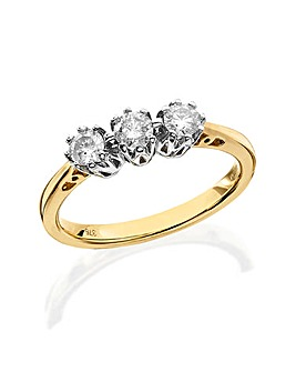 9 Carat Gold 1/2ct Diamond Trilogy Ring