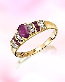 9ct Gold Ruby & Diamond-Set Ring