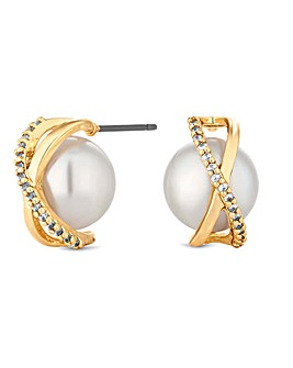 Jon Richard Pave Encased Pearl Earring