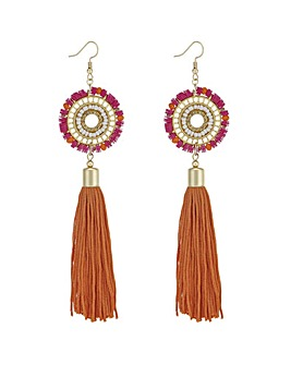 Mood Beaded Disc And Tassel Earring