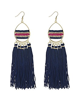 Mood Beaded Tassel Statement Earring