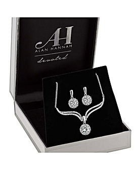 Alan Hannah Halo Drop Jewellery Set