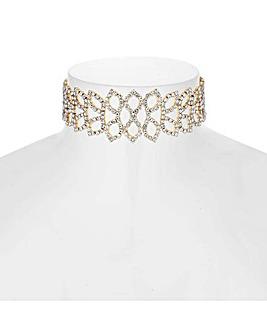 Mood Diamante Leaf Choker Necklace