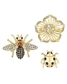 Mood Crystal Bee Brooch Set