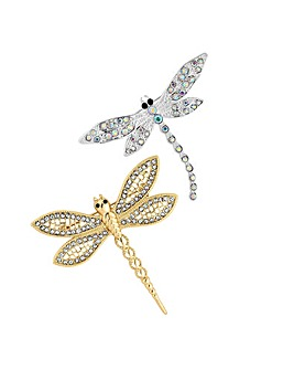 Mood Crystal Dragonfly Brooch Set