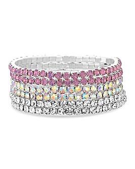 Mood Pink Crystal Bracelet Set