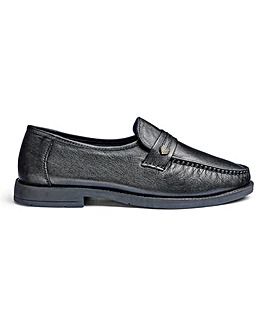 Leather Slip On Shoes Wide Fit