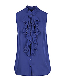 Lovedrobe GB Navy Frill Sleeveless Shirt