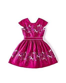 "Yumi Girl Unicorn Scene Cotton Dress """