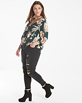 Junarose Front Pleated Floral Top