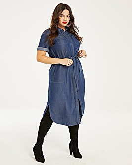 Soft Tencel Denim Utility Shirt Dress