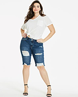 Fern Distressed Knee Length Denim Shorts