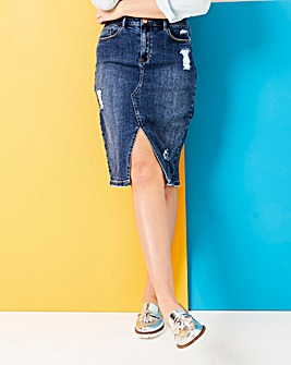 Fern Distressed Denim Skirt