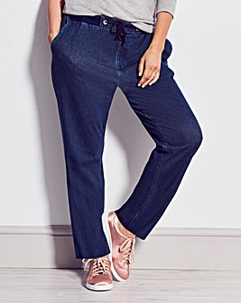 Jersey Denim Straight Leg Jeans