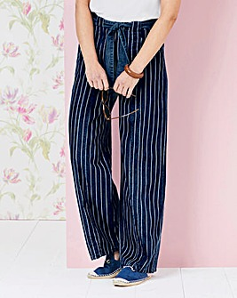 Lightweight Stripe Denim Pull-On Jeans