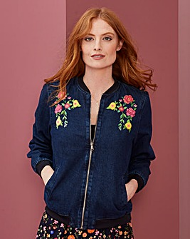 Floral Denim Bomber Jacket