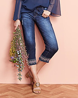 Sadie Slim Leg Embroidered Crop Jeans