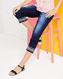 Sadie Slim Leg Embroidered Crop Jeans