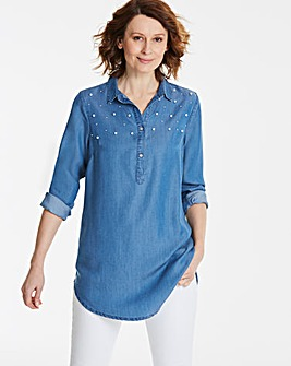 Longline Tencel Denim Tunic with Pearls