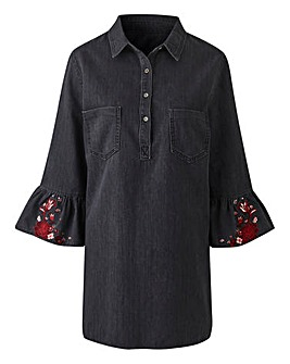 Soft Denim Embroidered Sleeve Tunic