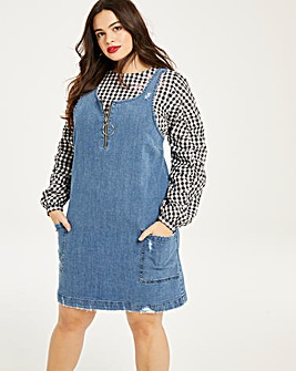 Distressed Denim Pinafore Dress