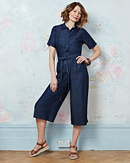Tencel Denim Culotte Utility Jumpsuit