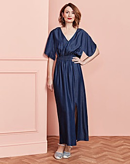 Tencel Shirred Waist Maxi Dress