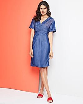 Soft Tencel Denim Twist Knot Front Dress