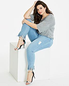 Luna Shredded Studded Slim Leg Jeans