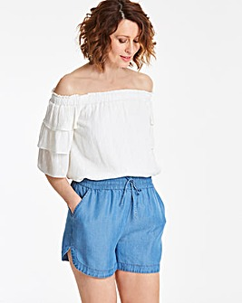 Tencel Shirred Waist Pull-On Short