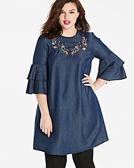 Embroidered Fluted Sleeve Tencel Dress