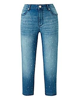 Petite Sadie Metallic Stud Crop Jean