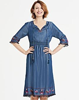 Tencel Embroidered Pom-Pom Midi Dress