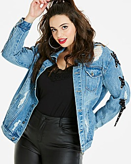 Studded Lace Up Distressed Denim Jacket