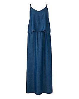 Petite Tencel Denim Double Layer Maxi