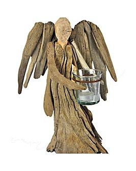 Natural Driftwood Christmas Angel Votive