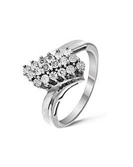 Silver 0.05Ct Cluster Diamond Ring