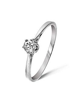 9ct White Gold 0.2Ct Diamond Ring