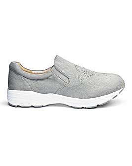 Heavenly Soles Diamante Slip On E Fit