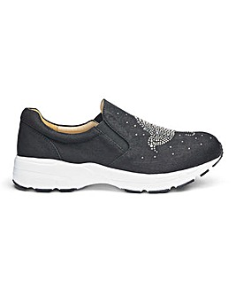Heavenly Soles Diamante Slip On EEE Fit