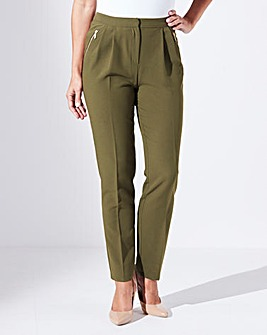 Crepe Peg Zip Stretch Trousers - Regular