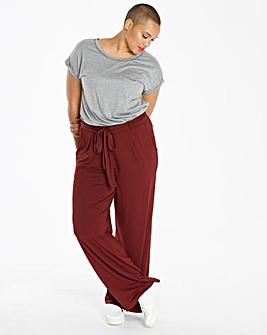 Plain Jersey Wide Leg Trousers Long
