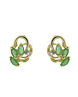 9ct Y/G Sapphire & Diamond Earrings