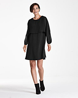 Black Cape Sleeve Tunic Dress