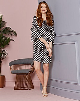 Spot Print Tie Sleeve Shift Dress